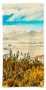 Western Panorama From Mountain At Joshua Tree National Park Beach Towel