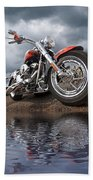 Wet And Wild - Harley Screamin' Eagle Reflection Beach Towel