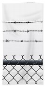 Wet Barbed Wire Fence In Heavy Fog E69 Beach Towel