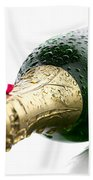 Wet Champagne Bottle Beach Towel