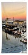 Wharf #2 In Monterey At Sunset Beach Towel
