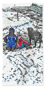 What Fascinates Children And Dogs -  Snow Day - Winter Beach Towel