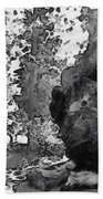 When Giants Fall Black And White Beach Towel by Barbara Snyder
