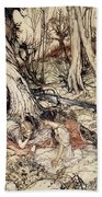 Where Often You And I Upon Fain Primrose Beds Were Wont To Lie Beach Towel by Arthur Rackham
