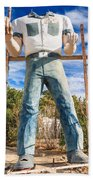 Whered It Go Muffler Man Statue Beach Towel