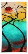 Whimsical Abstract Tree Landscape With Moon Twisting Love IIi By Megan Duncanson Beach Towel