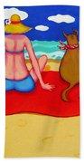 Whimsical Beach Seashore Woman And Dog Beach Towel