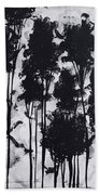 Whimsical Black And White Landscape Original Painting Decorative Contemporary Art By Madart Studios Beach Sheet