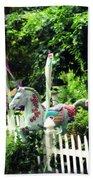 Whimsical Carousel Horse Fence Beach Towel