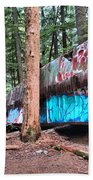 Whistler Train Wreckage Among The Trees Beach Towel