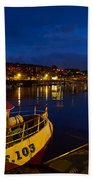 Whitby Upper Harbour At Night Beach Towel