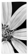 White And Black Flower Close Up Beach Towel