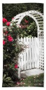 White Arbor With Red Roses Beach Sheet