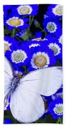 White Butterfly In Blue Flowers Beach Towel