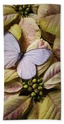 White Butterfly On Poinsettia Beach Towel