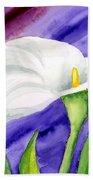 White Calla Lily Purple Mood Beach Towel