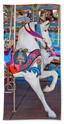 White Carousel Horse Beach Towel