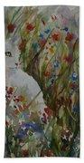 White Cat In Flowers Beach Towel