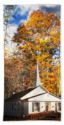 White Church In Autumn Beach Towel