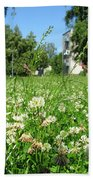 White Clover Field And The Playground Beach Towel
