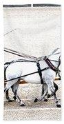 White Coach Horses Beach Towel