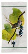 White Crowned Finch Square Beach Towel