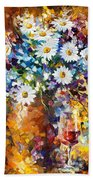 White Flowers - Palette Knife Oil Painting On Canvas By Leonid Afremov Beach Towel