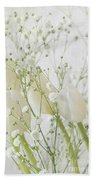 White Flowers Pi Beach Towel