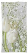 White Flowers Pii Beach Towel