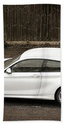 White Hatchback Car Beach Towel