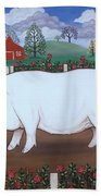 White Hog And Roses Beach Towel