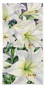 White Lilies Beach Towel