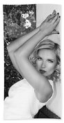 White Linen Bw Palm Springs Beach Towel