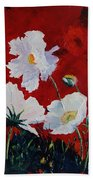 White On Red Poppies Beach Towel