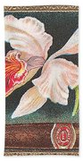 White Orchid Cigar Label Beach Towel