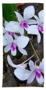 White Orchid Cluster With Hot Pink Beach Towel