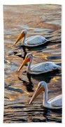White Pelicans  In Golden Water Beach Towel