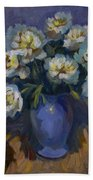 White Peonies Beach Towel