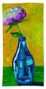White Peony Into A Blue Bottle Beach Towel