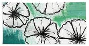 White Petunias- Floral Abstract Painting Beach Towel