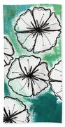 White Petunias- Floral Abstract Painting Beach Sheet