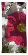 White-red Petunia Beach Towel