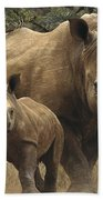 White Rhinoceros And Baby Lewa Kenya Beach Towel