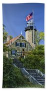 White River Lighthouse In Whitehall Michigan No.057 Beach Towel