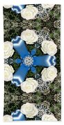 White Roses And Babys Breath Kaleidoscope Beach Towel