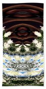 White Roses And Babys Breath Polar Coordinates Effect Beach Towel