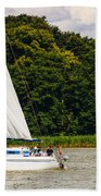 White Sailboat Beach Towel