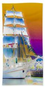 White Sails Ship And Colorful Background Beach Towel