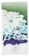 White Silhouette Of Oak Tree Against Blue And Green Watercolor Background Beach Towel