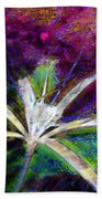 White Spider Flower On Orange And Plum - Vertical Beach Towel